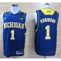Wolverines #1 Glenn Robinson III Navy Blue Basketball Stitched NCAA Jersey