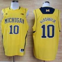 Wolverines #10 Tim Hardaway Jr. Gold Basketball Stitched NCAA Jersey