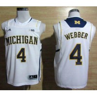 Wolverines #4 Chris Webber White Basketball Stitched NCAA Jersey