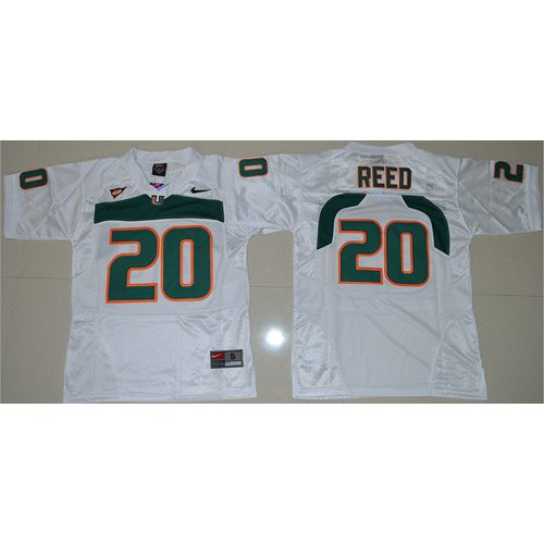 big sale fe942 bfe5d Youth Miami Hurricanes #20 Ed Reed White Stitched NCAA Jersey
