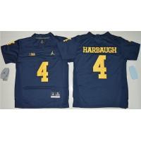 Youth Michigan Wolverines #4 Jim Harbaugh Navy Blue Jordan Brand Stitched NCAA Jersey