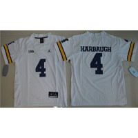 Youth Michigan Wolverines #4 Jim Harbaugh White Jordan Brand Stitched NCAA Jersey