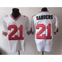 1992 Mitchell And Ness Falcons #21 Deion Sanders White Throwback Stitched NFL Jersey