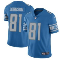 Nike Detroit Lions #81 Calvin Johnson Blue Team Color Men's Stitched NFL Limited Jersey