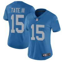 Women's Nike Detroit Lions #15 Golden Tate III Blue Throwback Stitched NFL Limited Jersey
