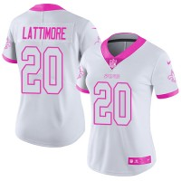 Women's Nike New Orleans Saints #20 Marshon Lattimore White PinkStitched NFL Limited Rush Fashion Jersey