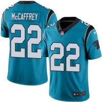 Youth Nike Carolina Panthers #22 Christian McCaffrey Blue Stitched NFL Limited Rush Jersey