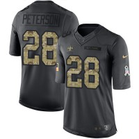 Youth Nike New Orleans Saints #28 Adrian Peterson Black Stitched NFL Limited 2016 Salute to Service Jersey