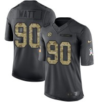 Youth Nike Pittsburgh Steelers #90 T. J. Watt Black Stitched NFL Limited 2016 Salute to Service Jersey