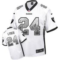 Nike Oakland Raiders #24 Marshawn Lynch White Men's Stitched NFL Elite Drift Fashion Jersey