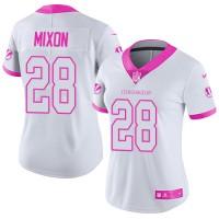 Women's Nike Cincinnati Bengals #28 Joe Mixon White Pink Stitched NFL Limited Rush Fashion Jersey
