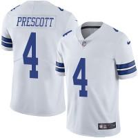 Nike Dallas Cowboys #4 Dak Prescott White Men's Stitched NFL Vapor Untouchable Limited Jersey