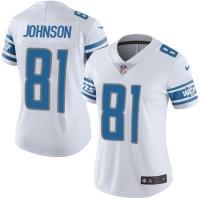 Women's Nike Detroit Lions #81 Calvin Johnson White Stitched NFL Vapor Untouchable Limited Jersey