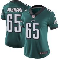 Women's Nike Philadelphia Eagles #65 Lane Johnson Midnight Green Team Color Stitched NFL Vapor Untouchable Limited Jersey