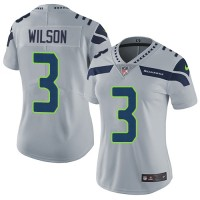 Women's Nike Seattle Seahawks #3 Russell Wilson Grey Alternate Stitched NFL Vapor Untouchable Limited Jersey