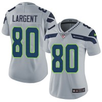 Women's Nike Seattle Seahawks #80 Steve Largent Grey Alternate Stitched NFL Vapor Untouchable Limited Jersey