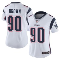 Women's Nike New England Patriots #90 Malcom Brown White Stitched NFL Vapor Untouchable Limited Jersey