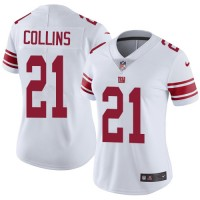 Women's Nike New York Giants #21 Landon Collins White Stitched NFL Vapor Untouchable Limited Jersey