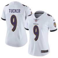 Women's Nike Baltimore Ravens #9 Justin Tucker White Stitched NFL Vapor Untouchable Limited Jersey