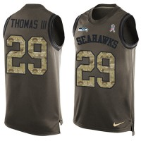 Nike Seattle Seahawks #29 Earl Thomas III Green Men's Stitched NFL Limited Salute To Service Tank Top Jersey