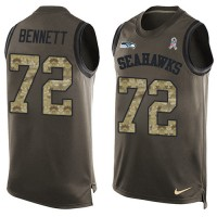 Nike Seattle Seahawks #72 Michael Bennett Green Men's Stitched NFL Limited Salute To Service Tank Top Jersey