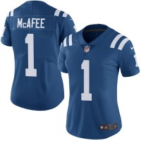 Women's Nike Indianapolis Colts #1 Pat McAfee Royal Blue Team Color Stitched NFL Vapor Untouchable Limited Jersey