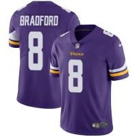 Youth Nike Minnesota Vikings #8 Sam Bradford Purple Team Color Stitched NFL Vapor Untouchable Limited Jersey
