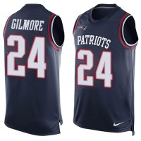 Nike New England Patriots #24 Stephon Gilmore Navy Blue Team Color Men's Stitched NFL Limited Tank Top Jersey