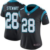 Women's Nike Carolina Panthers #28 Jonathan Stewart Black Team Color Stitched NFL Vapor Untouchable Limited Jersey