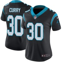 Women's Nike Carolina Panthers #30 Stephen Curry Black Team Color Stitched NFL Vapor Untouchable Limited Jersey