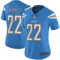 Women's Los Angeles Chargers #22 Jason Verrett Electric Blue Alternate Stitched NFL Vapor Untouchable Limited Jersey
