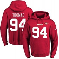 Men's Nike San Francisco 49ers #94 Solomon Thomas Red Name & Number Pullover NFL Hoodie