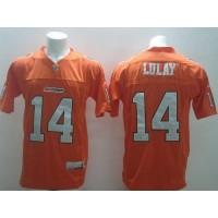 BC Lions  14 Travis Lulay Orange Stitched CFL Jersey b1f794c51