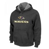 Baltimore Ravens Authentic Logo Pullover Hoodie Dark Grey