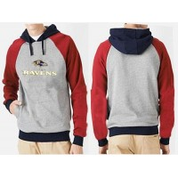 Baltimore Ravens Authentic Logo Pullover Hoodie Grey & Red