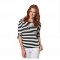 Baltimore Ravens Lady Striped Boatneck Three-Quarter Sleeve T-Shirt