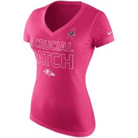 Baltimore Ravens Nike Women's Breast Cancer Awareness V Neck Tri Blend T-Shirt Pink