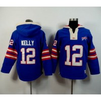 Buffalo Bills #12 Jim Kelly Royal Blue Player Winning Method Pullover NFL Hoodie