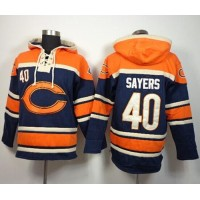 Chicago Bears #40 Gale Sayers Navy Blue Sawyer Hooded Sweatshirt NFL Hoodie