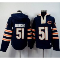 Chicago Bears #51 Dick Butkus Navy Blue Player Winning Method Pullover NFL Hoodie