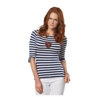 Chicago Bears Lady Striped Boatneck Three-Quarter Sleeve T-Shirt