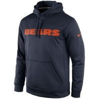 Chicago Bears Nike KO Wordmark Performance Hoodie Navy Blue