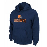 Cleveland Browns Authentic Logo Pullover Hoodie Dark Blue
