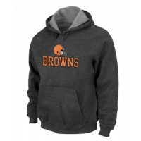 Cleveland Browns Authentic Logo Pullover Hoodie Dark Grey