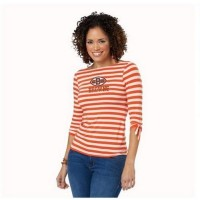 Cleveland Browns Lady Striped Boatneck Three-Quarter Sleeve T-Shirt