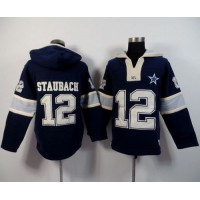 Dallas Cowboys #12 Roger Staubach Navy Blue Player Winning Method Pullover NFL Hoodie