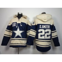 Dallas Cowboys #22 Emmitt Smith Navy Blue Sawyer Hooded Sweatshirt NFL Hoodie