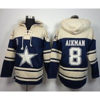 Dallas Cowboys #8 Troy Aikman Navy Blue Sawyer Hooded Sweatshirt NFL Hoodie