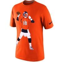 Denver Broncos #18 Peyton Manning Nike Silhouette T-Shirt Orange