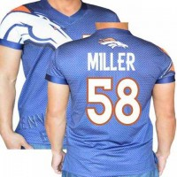 Denver Broncos Navy #58 Von Miller Stretch Shirt Name Number Player Personalized Blue Mens Adults NFL T-Shirts Tee Shirts